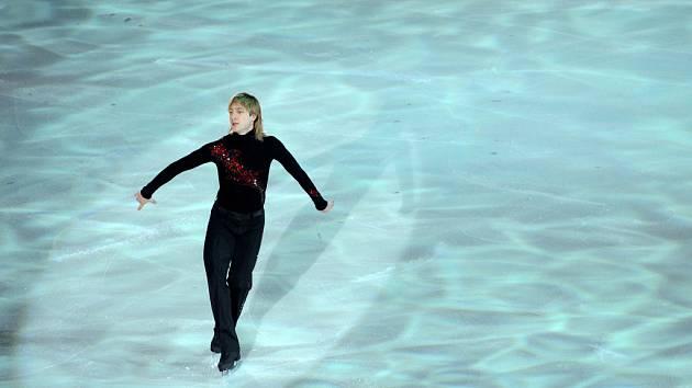 Největší hvězda  exhibičního vystoupení Králové ledové plochy Jevgenij Pljuščenko.