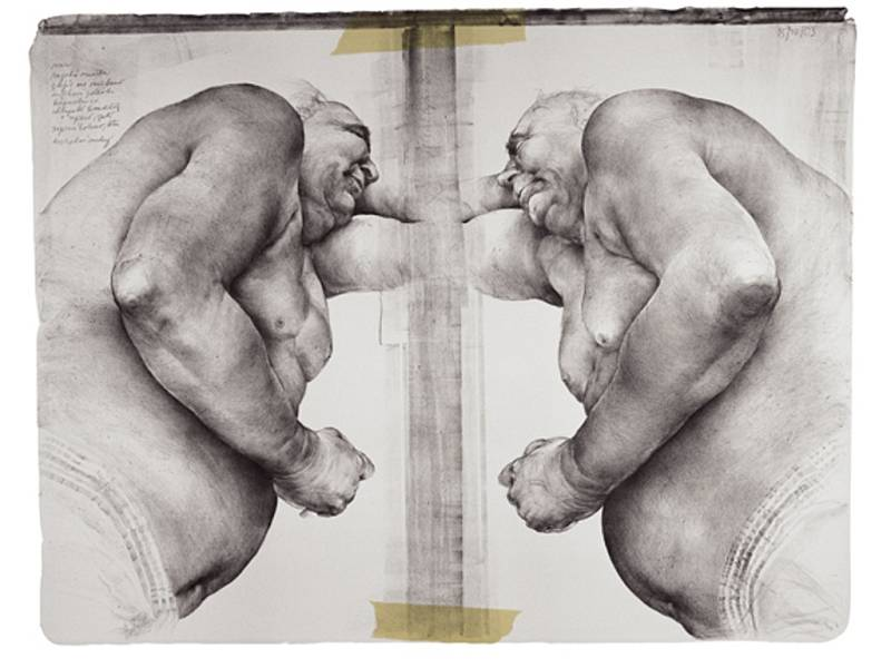 Obézní symetrie - litografie, 2003.