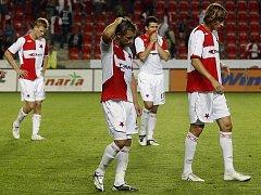 Slávistický smutek poté, co v odvetném utkání 3. předkola Ligy mistrů pouze remizovali s Šerifem Tiraspol.