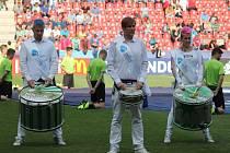 Slavnostní zahájení mistrovství Evropy fotbalistů do jednadvaceti let v pražském Edenu.