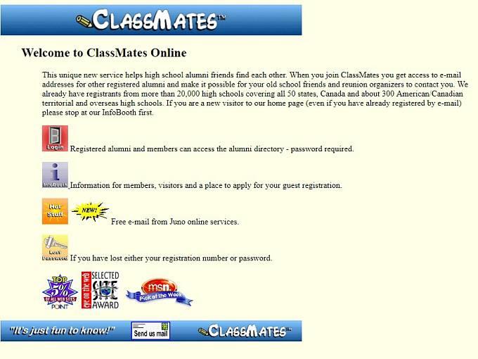 První sociální síť vznikla na adrese www.classmates.com v roce 1995.