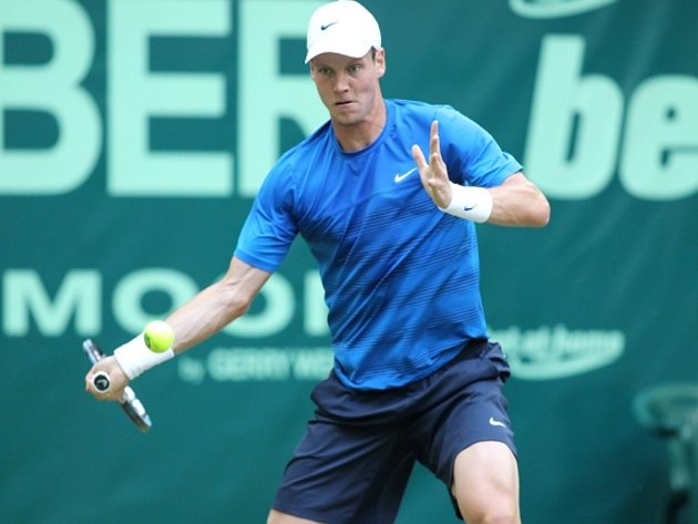 Tomáš Berdych na turnaji v Halle.
