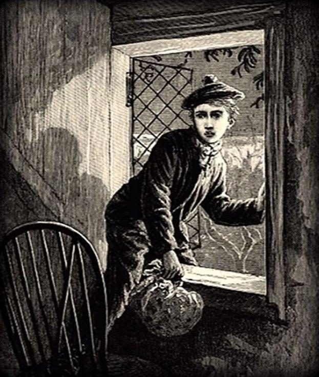 Jedno z dobových vyobrazení činu zachycuje tuláckého chlapce Vincenze Olivera, který přispěl k odhalení