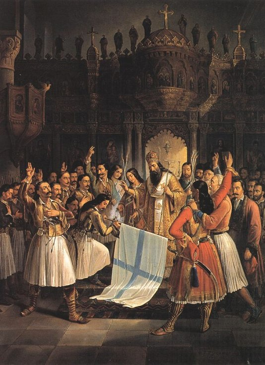Patraský metropolita Germanos žehná vlajce revoluce