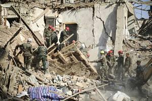Zničené budovy během bojů o Náhorní Karabach.