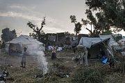 Stav v květnu 2018. Tábor Moria v Řecku.