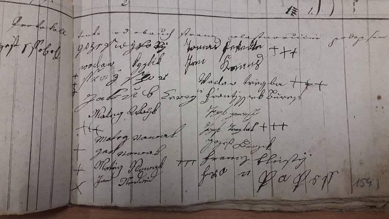 Podpisy sedláků z vesnic Vrbice a Podolí pod robotním výkazem z roku 1807. Někteří rolníci se podepsali křížky. Obě vesnice jsou dnes součástí obce Mšené-lázně