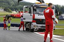 Sebastian Vettel na okruhu v Rakousku