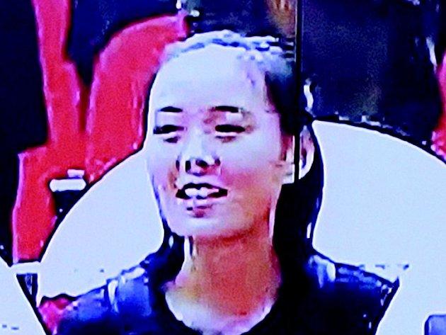 Sedmadvacetiletá Kim Jo-čong. (Reprofoto ze severokorejské televize)
