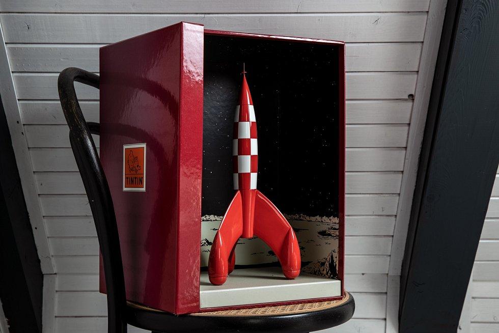 Tintinovu raketu jsem dostala od kamaráda k Vánocům. Neuvěřitelný dárek.
