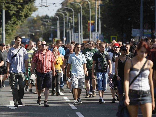 Sobotní demonstrace proti Romům v Ostravě.