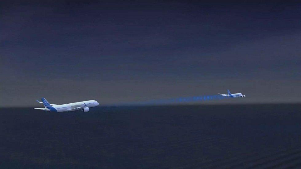 Schéma letu dvou letadel za sebou, jak si je představuje Airbus.