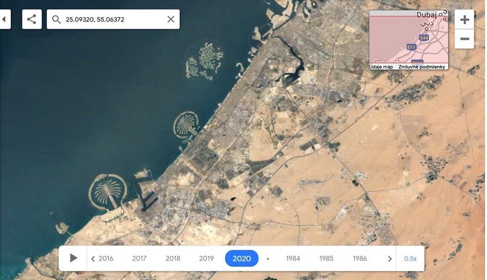 Nová aplikace Google Earth Timelapse umožňuje vidět proměnu planety v posledních čtyřiceti letech. Na snímku rozrůstání Dubaje, rok 1992.