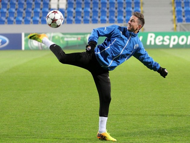 Milan Petržela na tréninku Plzně před bitvou s CSKA Moskva.