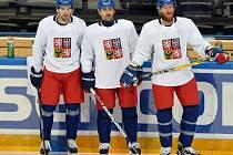 Michal Birner, Tomáš Plekanec a Jakub Voráček na tréninku reprezentace