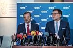 Hlasování o nedůvěře vládě Andreje Babiše 23.  listopadu v Praze. Petr Fiala a Zbyněk Stanjura.