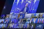 Charles Michel během videosummitu EU