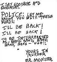 Část z dopisu, které vrah David Berkowitz, přezdívaný Samův syn, nechal na místě jednoho z útoků.