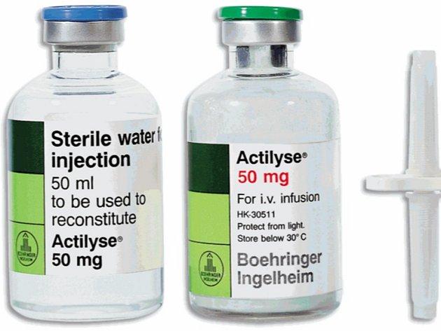 Přípravek Actilyse se používá u srdečních příhod a cévních mozkových příhod k rozpouštění krevních sraženin v nemocnicích.