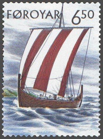 Poštovní známka s motivem tradiční vikingské lodi Drakkar