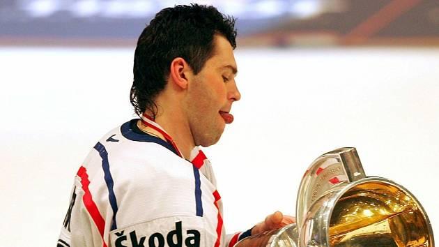 Jaromír Jágr na mistrovství světa 2005 ve Vídni.