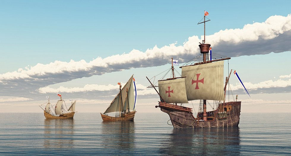 Nina, Pinta, Santa Maria. Tyto tři lodě se pojí s Kolumbovou první a nejznámější cestou do Ameriky v roce 1492.