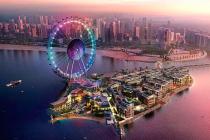 Ostrov Bluewaters s nejvyšším vyhlídkovým kolem světa v Dubaji.