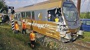 Vykolejený vlak na úzkorozchodné trati Mariazellerbahn