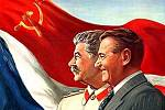 J. V. Stalin a Klement Gottwald na propagandistickém plakátu z padesátých let 20. století.