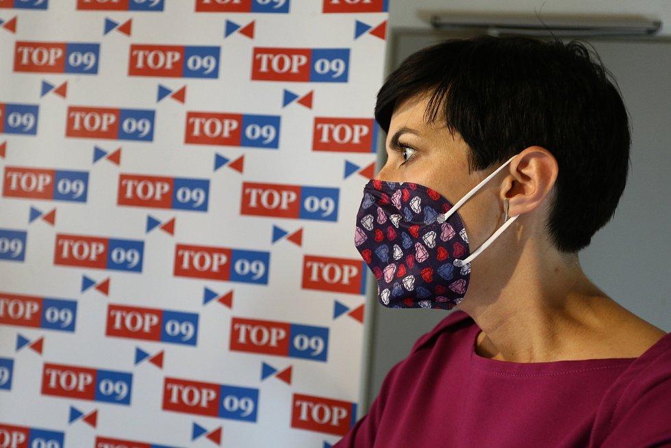 Volební štáb TOP 09 na Národní třídě v Praze. Markéta Adamová Pekarová.