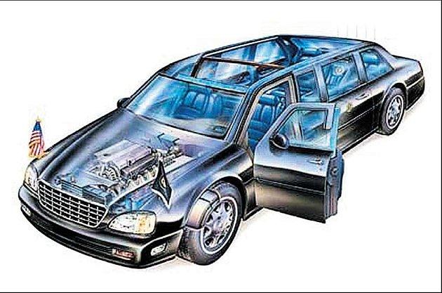 Upravený cadillac, limuzína amerických prezidentů má třinácticentimetrový pančíř a měla by odolat dokonce protitankovému granátu.
