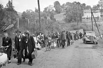 Odsun Němců z libereckého sběrného tábora.