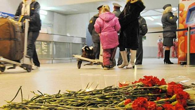 Pietní místo na letišti Domodědovo.