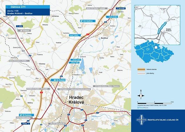 Plánovaný úsek dálnice D11 Hradec Králové - Smiřice.