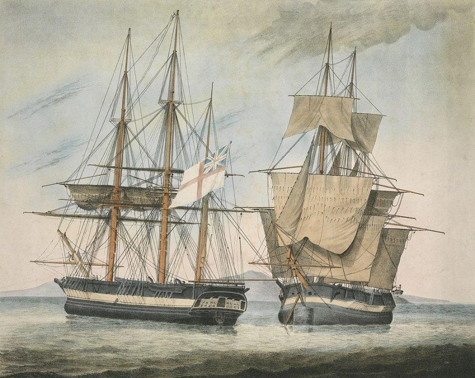 Ručně zbarvená litografie zobrazující lodi Fury a Hecla, jež se zúčastnily v letech 1824 a 1825 neúspěšné Parryho expedice s cílem objevit Severozápadní průjezd z Atlantiku do Tichého oceánu