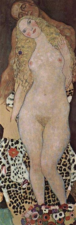 Klimtově tvorbě dominoval motiv nahé ženy, malované nejrůznějšími technikami