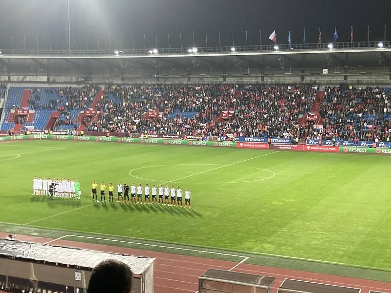 Stadion v Ostravě při zápase Česka s Běloruskem.