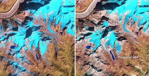 Snímky NASA zachytily vznik ledovcového jezera