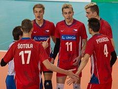 Volejbalová kvalifikace na Mistrovství Evropy juniorů do 20 let mezi Českou republikou a Řeckem. Lukáš Vašina má číslo 11.