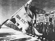 Přísaha příslušníků 1. čs. samostatného praporu v Buzuluku před odjezdem na frontu.