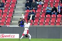 Michael Ngadeu oslavuje premiérový gól za Slavii.