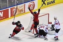 Kanada slaví čtvrtfinálovou branku do sítě Švýcarska