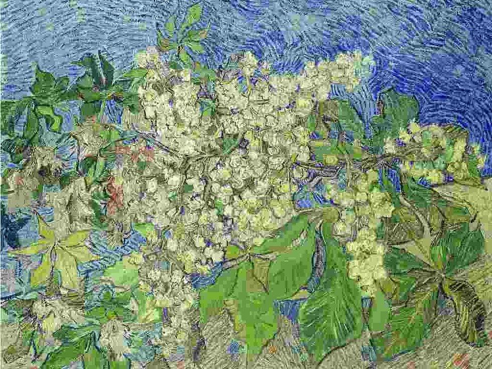 Květoucí větve kaštanu Vincenta van Gogha.