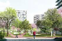 Developerská společnost Karlín Group chce v Modřanech u Vltavy postavit novou čtvrť s 698 byty v sedmi domech (na vizualizaci).
