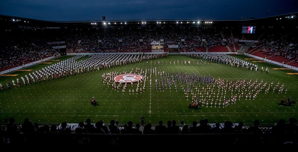 První program hromadných skladeb v rámci XVI. všesokolského sletu proběhl 5. července 2018 v pražské Eden Aréně.