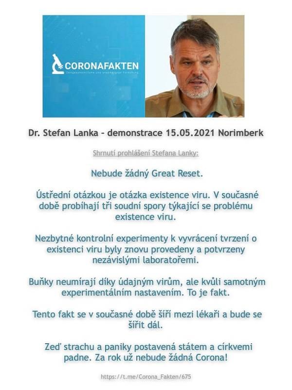 Jeden z příspěvků o kontroverzním německém biologovi Stefanu Lankovi, které se šíří mezi vyznavači konspiračních teorií na českém internetu