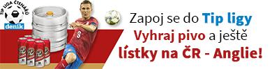 Tipliga. Vyhraj pivo a ještě lístky na zápas Česko - Anglie.