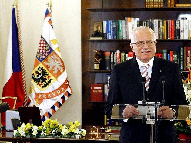Prezident Václav Klaus při novoročním projevu.