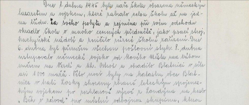 """Dne 1. dubna 1945 zabrali blatnickou školu němečtí vojáci a udělali z ní lazaret. """"Kradli,"""" stěžovali si blatničtí"""