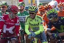 Hvězdy (zleva) Joaquin Rodríguez, Alberto Contador a Nairo Quintana v závodu Kolem Katalánska.